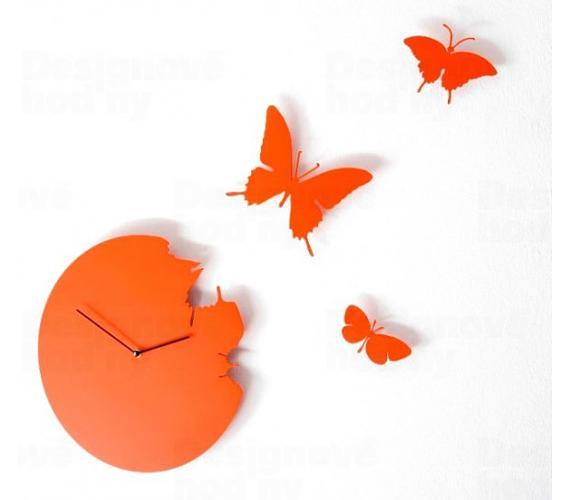 Designové hodiny Diamantini a Domeniconi Butterfly orange 40cm + DOPRAVA ZDARMA