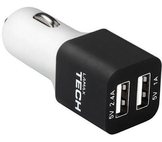 LAMAX Tech USB Car Charger 3.4A - USB nabíječka do auta (2x USB) - černá/bílá