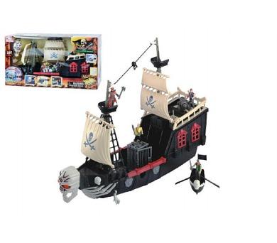 Pirátská loď plast 60cm na baterie se zvukem v krabici + DOPRAVA ZDARMA