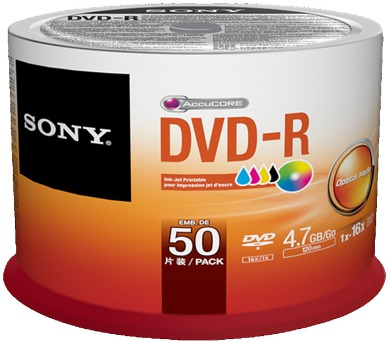 Média DVD-R SONY; 4.7GB; 50ks Injekt Printable Spindle