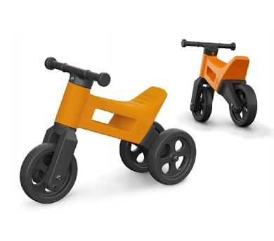 Odrážedlo FUNNY WHEELS 2v1 oranžové výška sedadla nastavitelná 27/30cm nosnost 50kg 18m+ + DOPRAVA ZDARMA