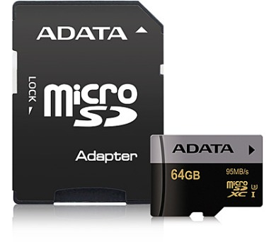 ADATA MicroSDXC 64GB U3 až 95MB/s + adapter