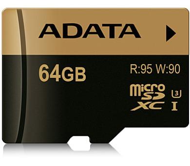 ADATA MicroSDXC 64GB U3 až 95/90MB/s