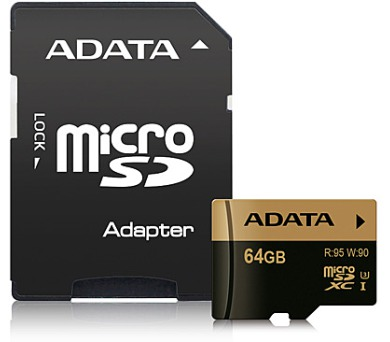 ADATA MicroSDXC 64GB U3 až 95/90MB/s + adapter