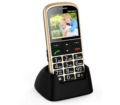 Telefon CPA Halo 11 Senior zlatý s nabíjecím stojánkem