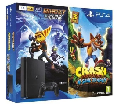 PS4 500GB slim+Crash Band+Ratchet&Clank Sony