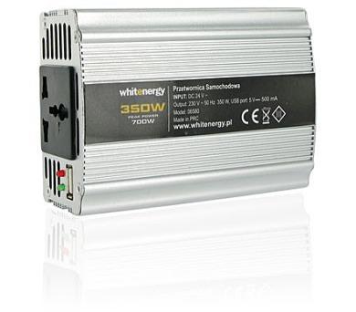 Whitenergy měnič napětí DC 24V-AC 230V 350W + USB