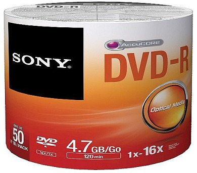 Média DVD-R SONY; 4.7GB; 50ks Bulk