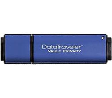 Kingston flash disk 4GB DT Vault Privacy 3.0 256-bit AES šifrování USB 3.0 (čtení/zápis: 80/12MB/s) modrý
