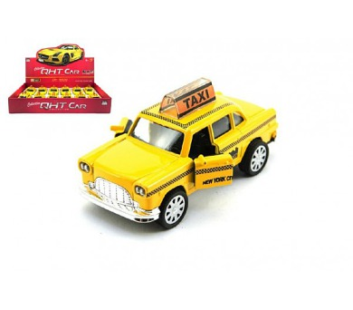 Auto taxi kov 11cm na zpětné natažení na baterie se světlem se zvukem 12ks v boxu