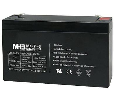 Olověný bezúdržbový akumulátor MHB VRLA AGM 6V/7 Ah MS7-6 (151x34x94mm)