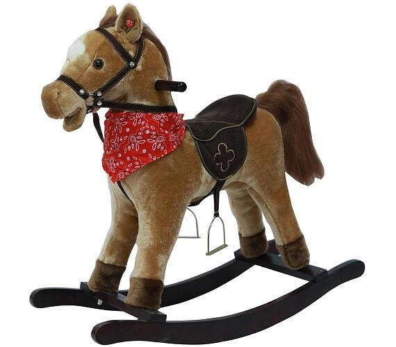 Kůň houpací hnědý plyš na baterie 56cm se zvukem a pohybem nosnost 50kg v krabici