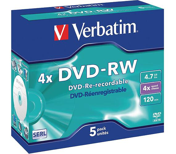 VERBATIM DVD-RW 4,7GB/ 4x/ DLP/ Jewel/ 5pack