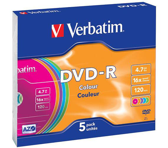 VERBATIM DVD-R 4,7GB/ 16x/ slim colour/ 5pack