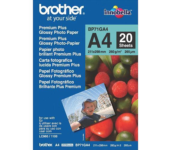 BROTHER fotopapír BP71GA4/ A4/ Premium Glossy/ 260g/ 20 listů