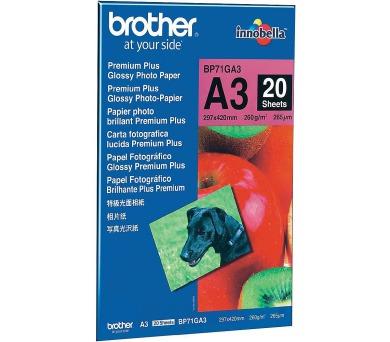 BROTHER fotopapír BP71GA3/ A3/ Premium Glossy/ 260g/ 20 listů