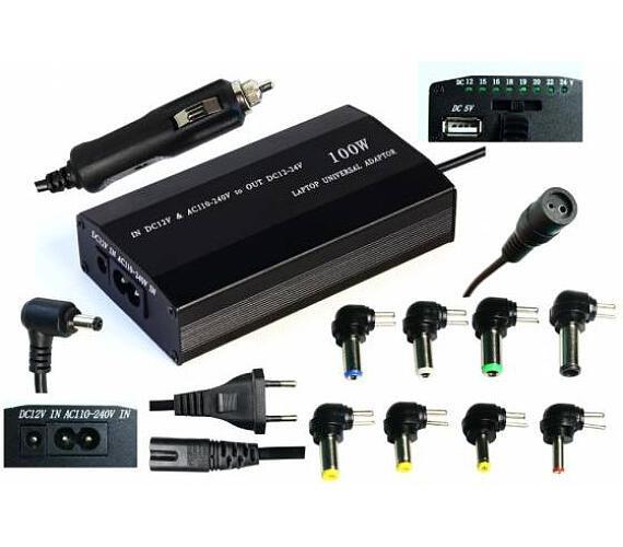 EUROCASE univerzální napájecí adaptér 100W (12-24V) 9 koncovek/ i do auta + DOPRAVA ZDARMA