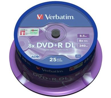 VERBATIM DVD+R DoubleLayer 8,5GB/ 8x/ MATT SILVER/ 25pack/ spindle (43757)
