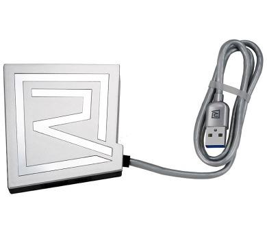 REMAX USB hub + SD card reader / Rhyden RU-U7 z USB 3.0 typ A samec na 3x USB 3.0 typ A samice / stříbrná (RU-U7 3.0 silver)