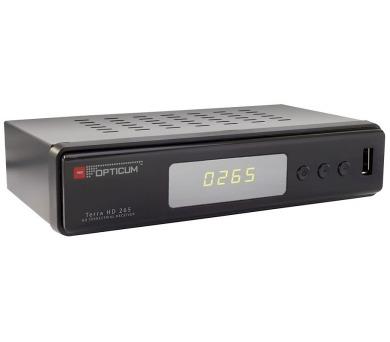 OPTICUM DVB-T2 přijímač Terra HD 265/ Full HD/ MPEG 1/2/4/ H.265/HEVC/ HDMI/ USB/ SCART/ černý
