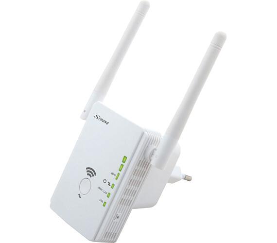 STRONG univerzální opakovač 300/ Wi-Fi standard 802.11b/g/n/ 300 Mbit/s/ 2,4GHz/ 2x LAN/ bílý