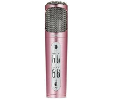 REMAX mikrofon / RM-K02 / 440mAh baterie / pro Android i iOS / provoz až 6-8 hod. / růžovo-zlatý