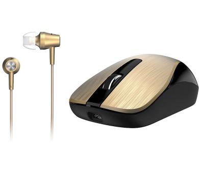 GENIUS MH-8015 bezdrátová dobíjecí myš + HEADSET ZDARMA/ zlatá