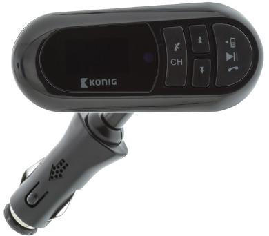 KÖNIG FM audio vysílač do auta (Transmitter)/ Bluetooth/ 12V/ micro SD/ jack 3,5 mm/ USB/ černý (CSBTFMTRANS100) + DOPRAVA ZDARMA