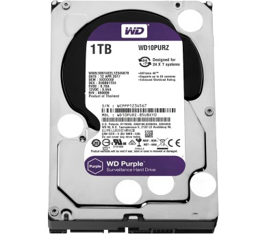 "WD HDD PURPLE 1TB / WD10PURZ / SATA 6Gb/s / Interní 3,5"" / 5400rpm /64MB"