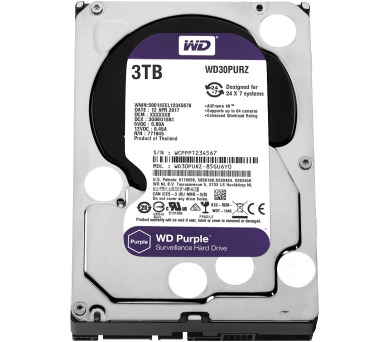"WD 3TB HDD PURPLE / WD30PURZ / SATAIII / Interní 3,5"" / 5400RPM /64MB"
