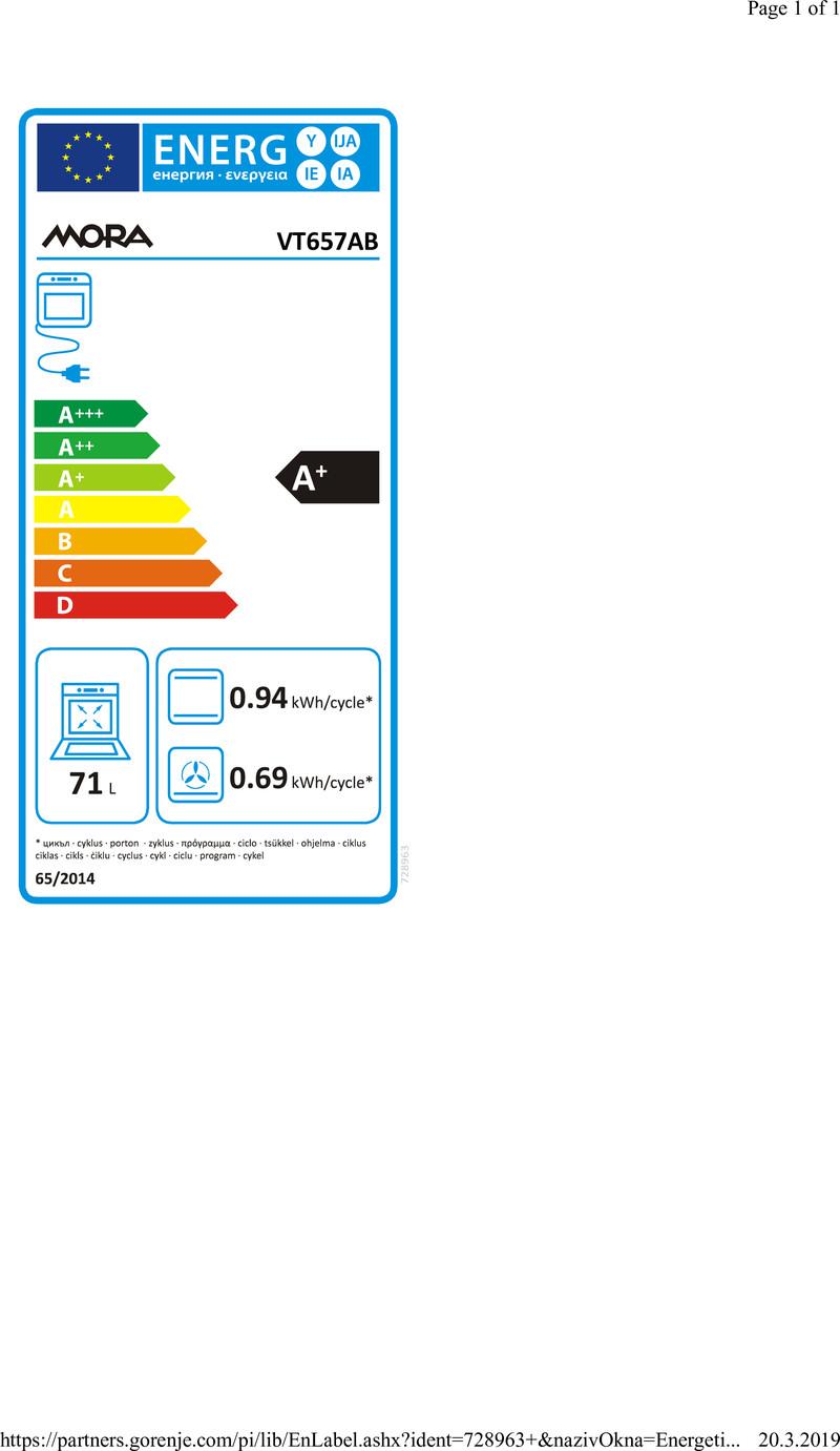Energetický štítek MORA VT 657AB