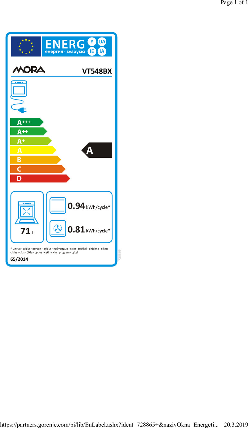 Energetický štítek Mora VT 548BX