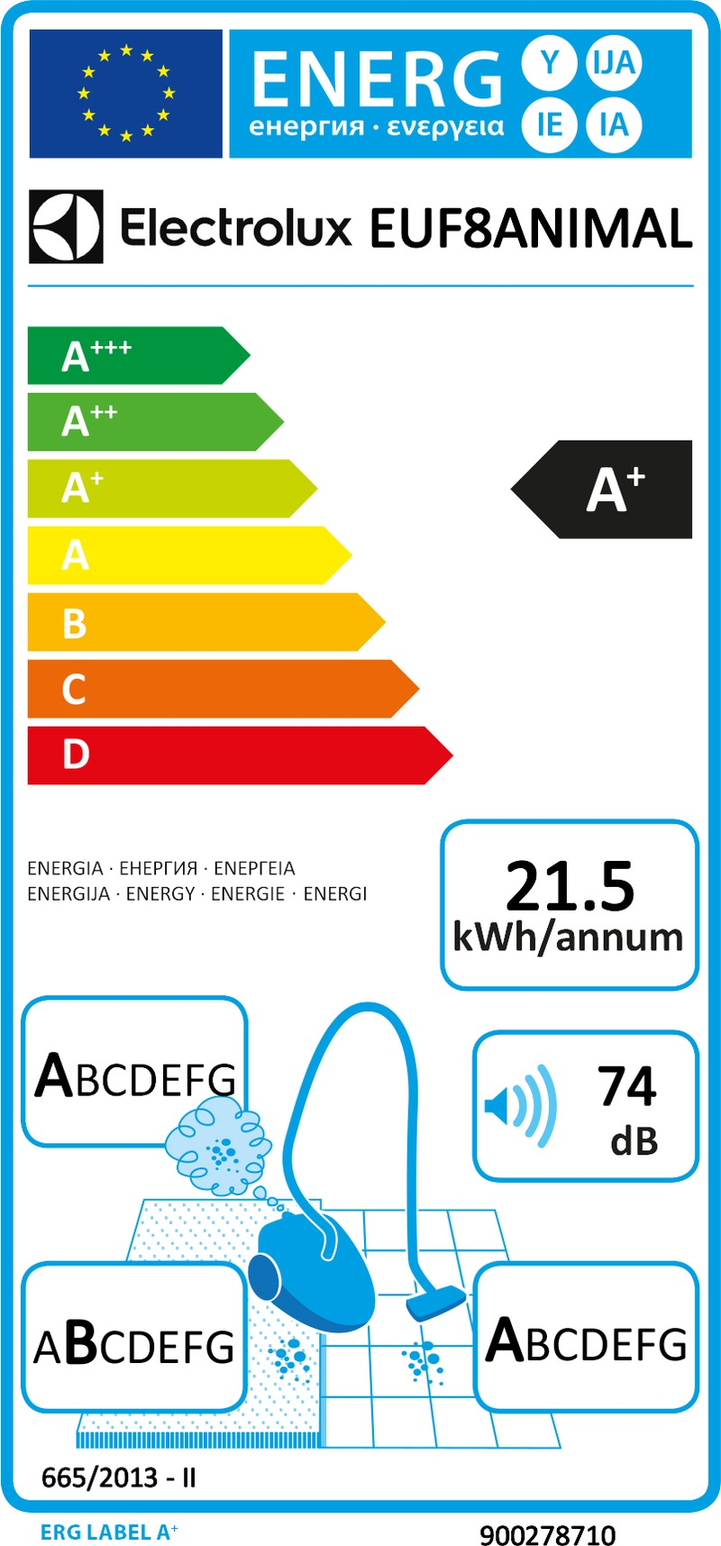 Energetický štítek Electrolux EUF8ANIMAL