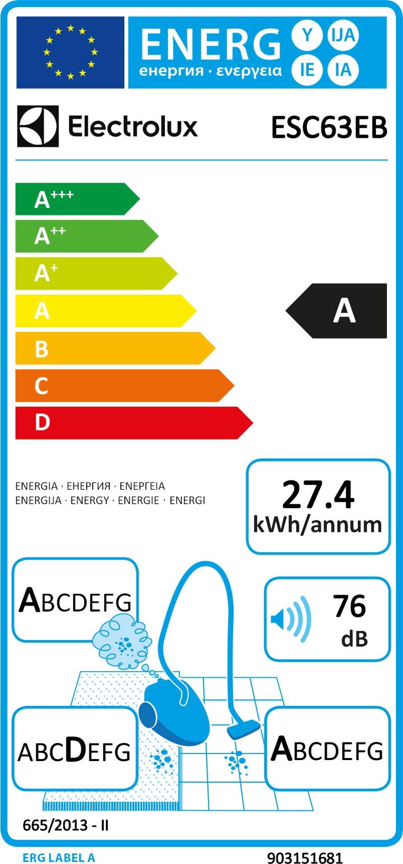 Energetický štítek Electrolux ESC63EB