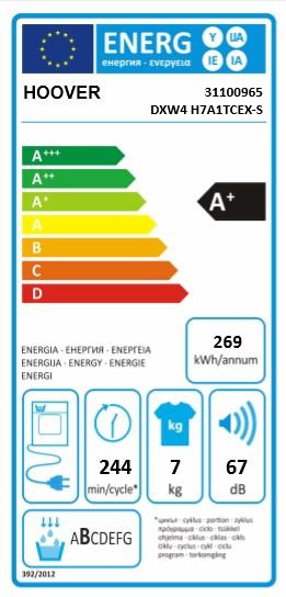 Energetický štítek Hoover DXW4 H7A1CTEX-S SLIM