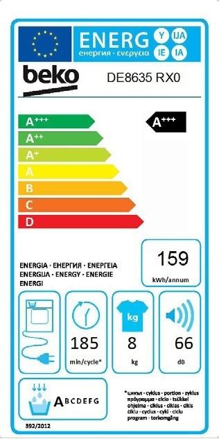Energetický štítek BEKO DE 8635 RX0 kondenzační