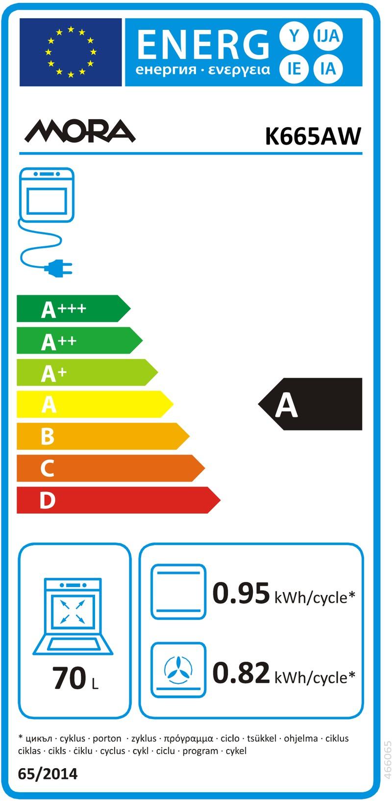 Energetický štítek MORA K665AW