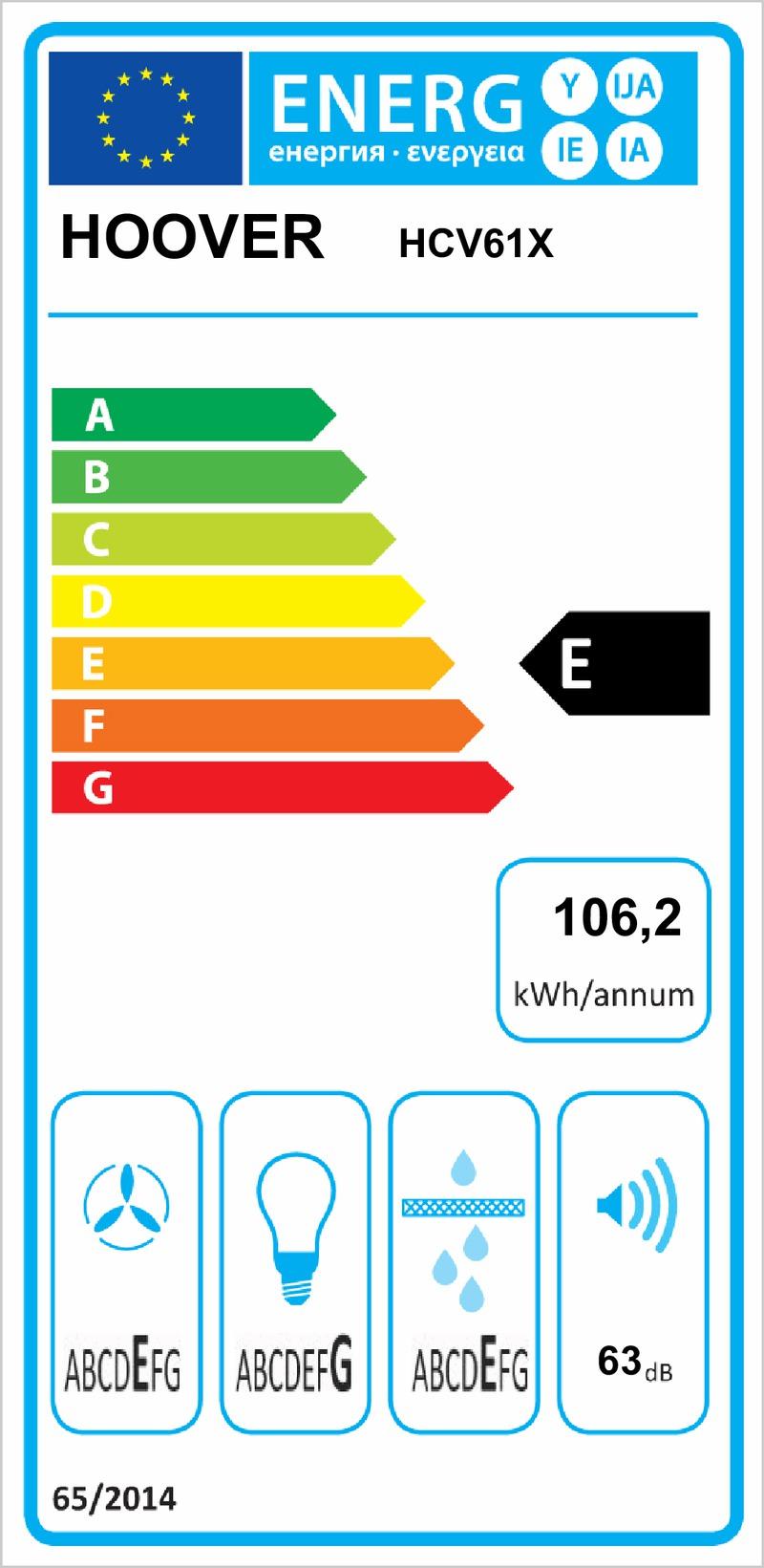 Energetický štítek Hoover First Classic HCV61X