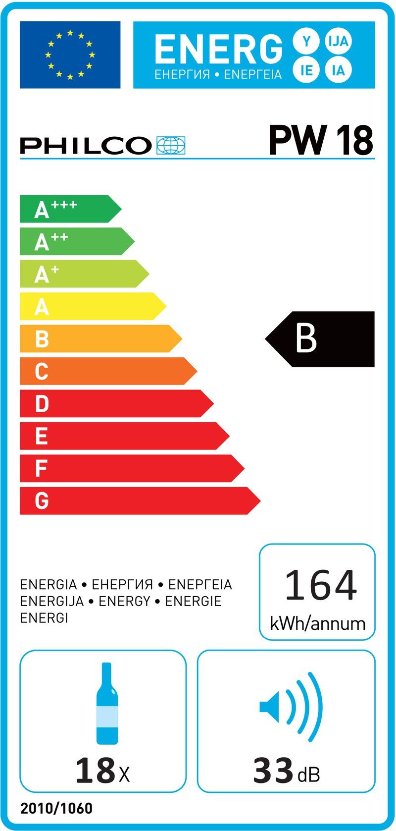 Energetický štítek Philco PW 18, černá 18 lahví
