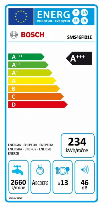 Energetický štítek Bosch SMS46FI01E