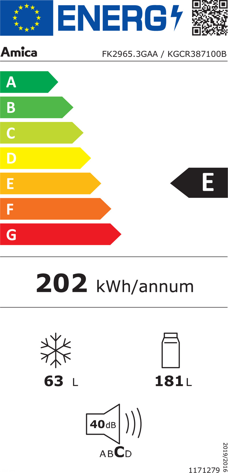 Energetický štítek Amica KGCR 387100B
