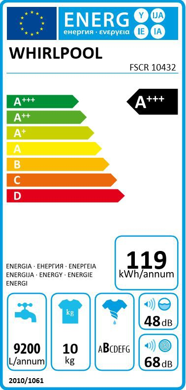 Energetický štítek Whirlpool FSCR 10432 SupremeCare