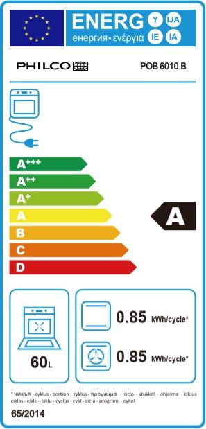 Energetický štítek Philco POB 6010 B