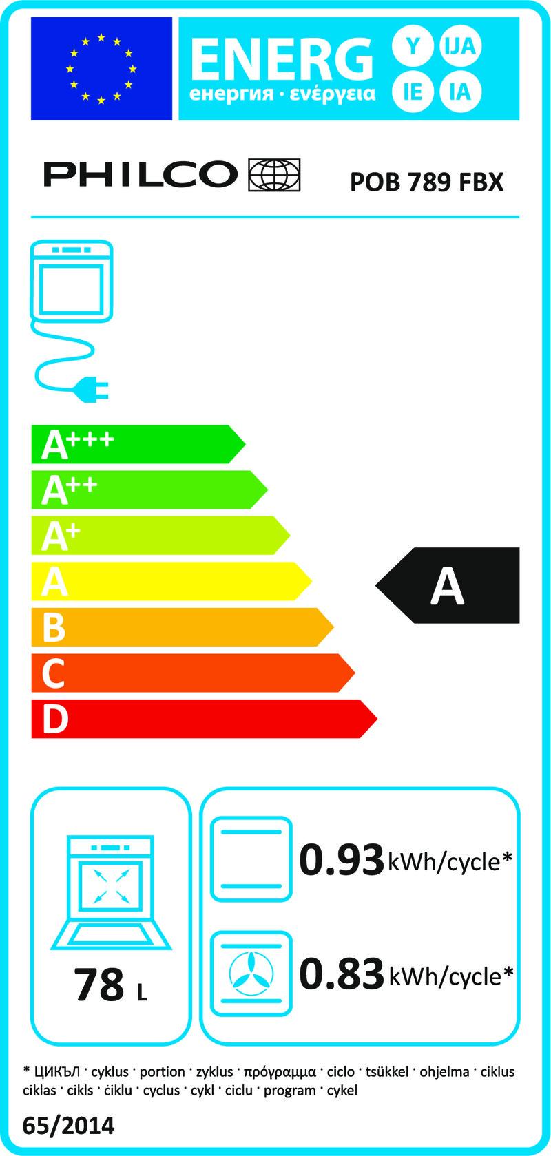 Energetický štítek Philco POB 789 FBX