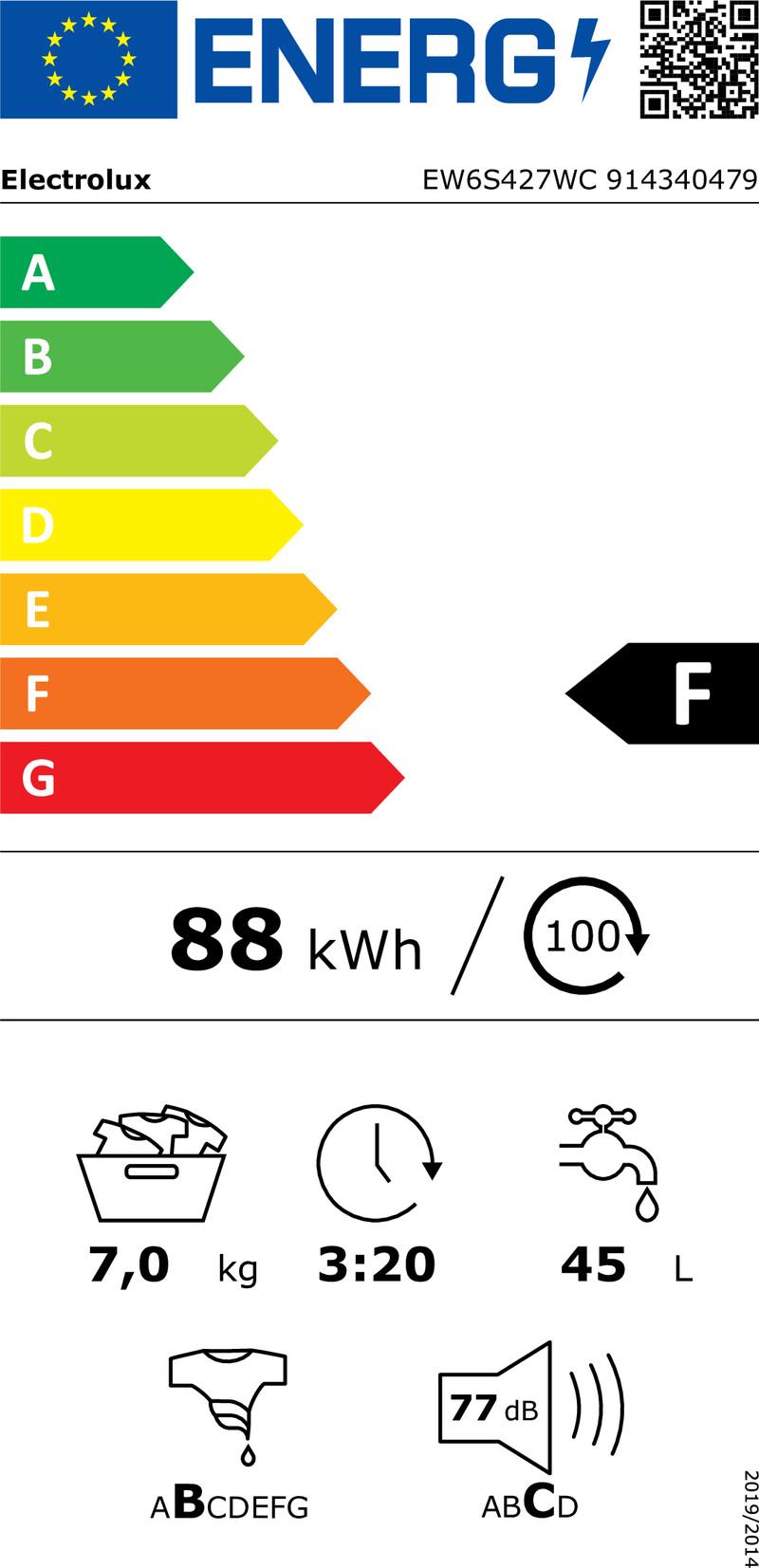 Energetický štítek Electrolux EW6S427WC
