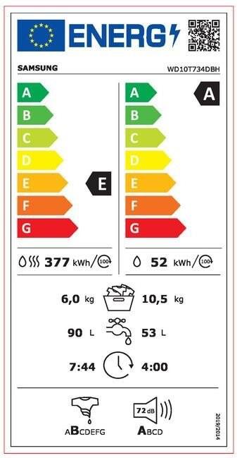 Energetický štítek Samsung WD 10T734DBH/S7
