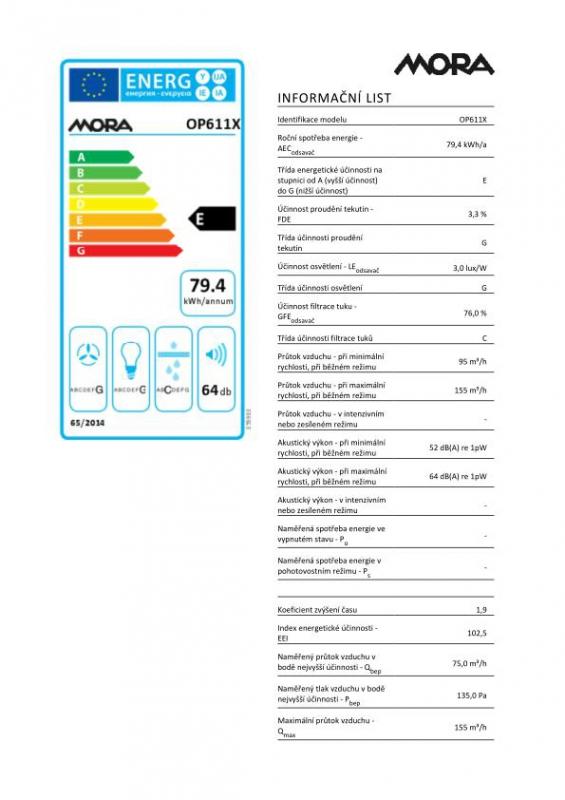 Energetický štítek Mora OP 611 X