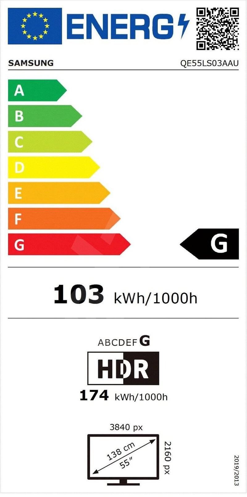 Energetický štítek Samsung QE55LS03A