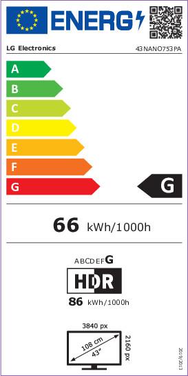Energetický štítek LG 43NANO75P NanoCell