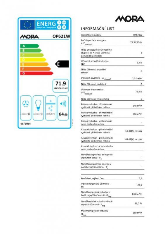 Energetický štítek Mora OP 621 W